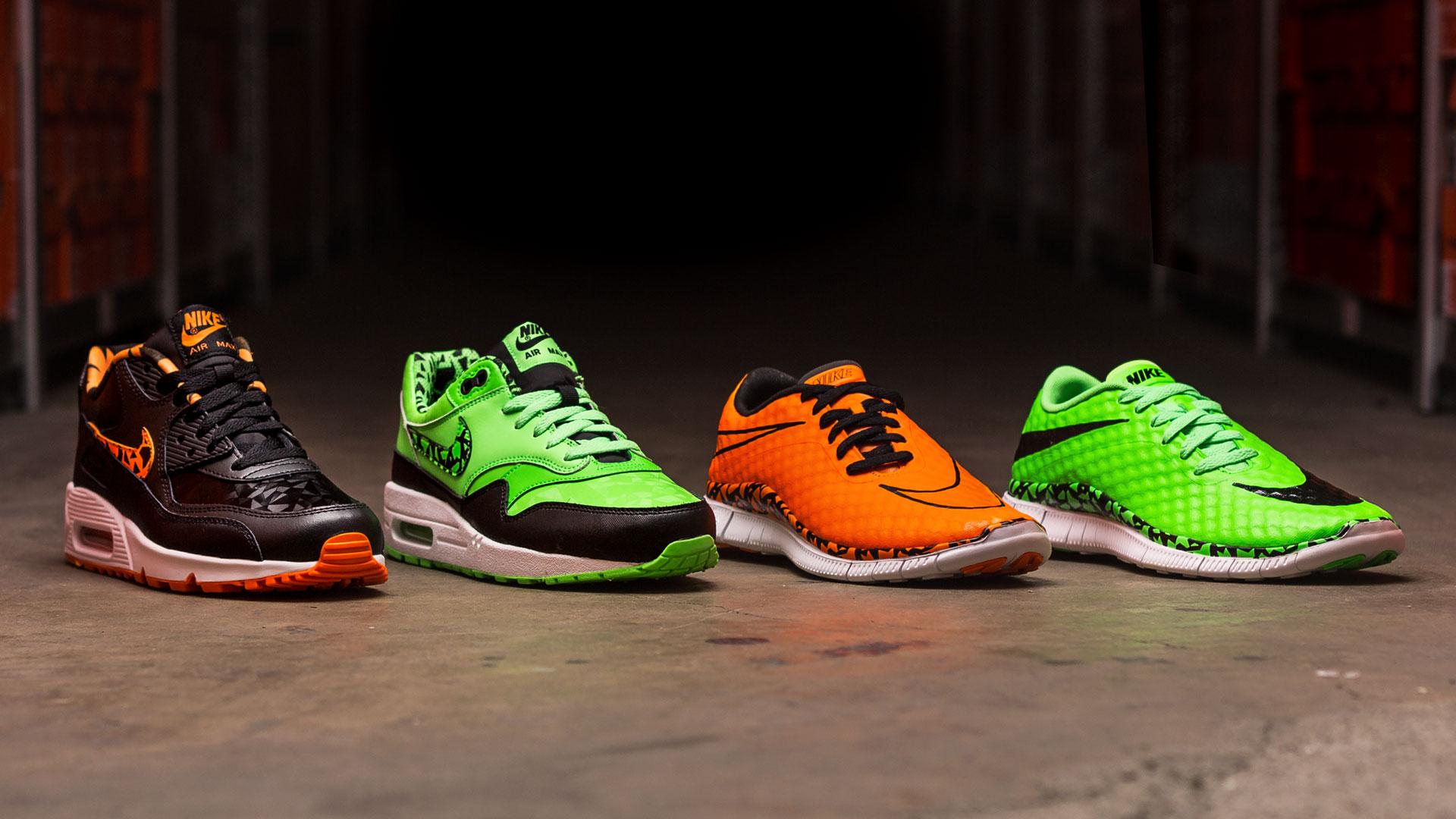Billig Nike Flyknit Air Max Sort Orange Neon Grøn Løbesko