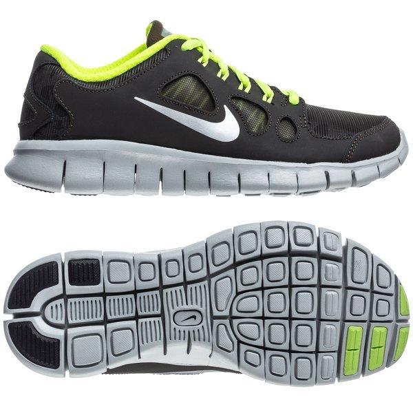 sale retailer f28aa dfc59 Nike Free Løbesko 5.0 Shield (GS) Mørkegrå Neongul