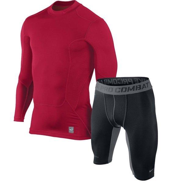 Nike Pro Hyperwarm Max Shield LÆ Rød + Pro Combat Hyperwarm Compression Shorts Sort