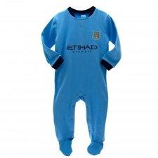 Manchester City sparkedragt med klubbens farve og logo. Passer til babyer i alderen 9-12 måneder. 100% bomuld.