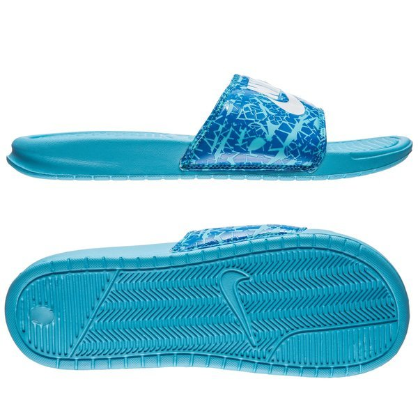 2acf615c63426 Nike Badesandal Benassi JDI Print Clearwater White Dark Electric Blue Women.  Read more about the product. - sandals. - sandals image shadow