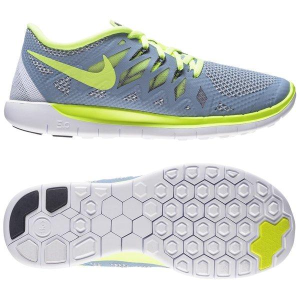 b9f3986f7ab1 Nike Free Løbesko 5.0 (GS) Blå Grå Neon Børn