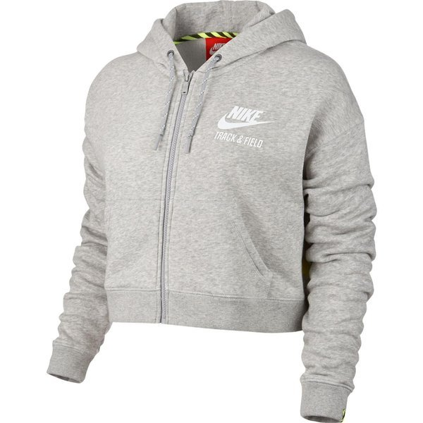 Nike Kapuzenjacke Track & Field Cropped GrauWeiß Damen
