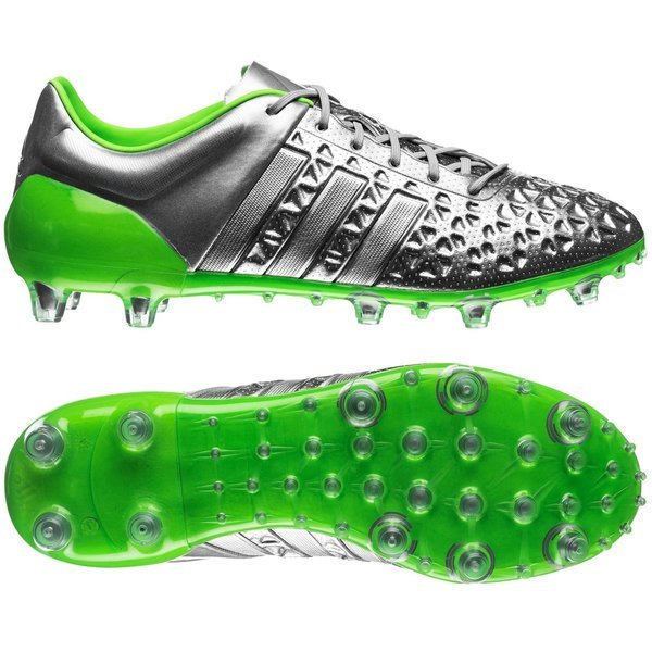 adidas Ace 15.1 Eskolaite FG AG Silver Metallic Solar Green Core Black.  Read more about the product. - football boots. - football boots image shadow f6176ac87021