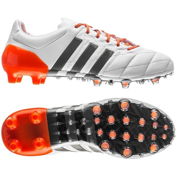 adidas Ace 15.1 Leather FG AG White Iron Metallic Solar Orange Women ... ce50d7d357