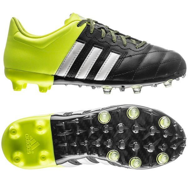 quality design 3877b 13362 adidas Ace 15.1 Leather FG AG Black White Solar Yellow Kids   www ...