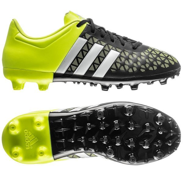 ff47d665d9b66 adidas Ace 15.3 FG AG Core Black White Solar Yellow Kids