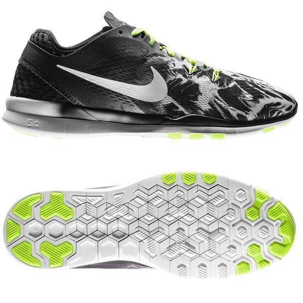 Nike Free 5.0 TR FIT 5 Print SortHvidNeon Dame