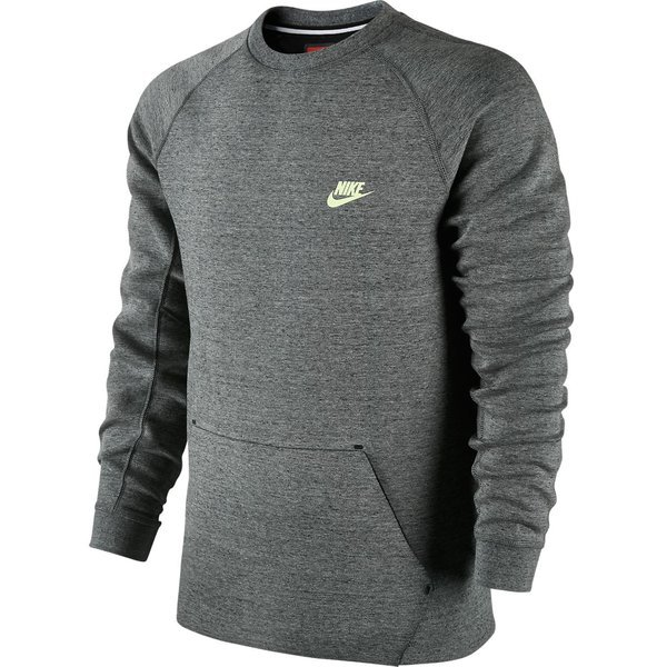 nike sweatshirt tech fleece crew grau schwarz neon www. Black Bedroom Furniture Sets. Home Design Ideas