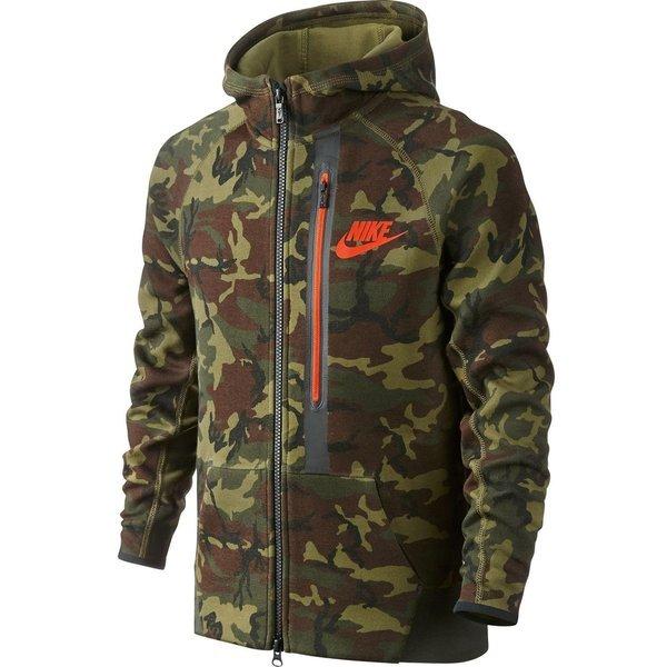 nike hoodie tech fleece aop fz sequoia black team orange kids ... b0c93da621af