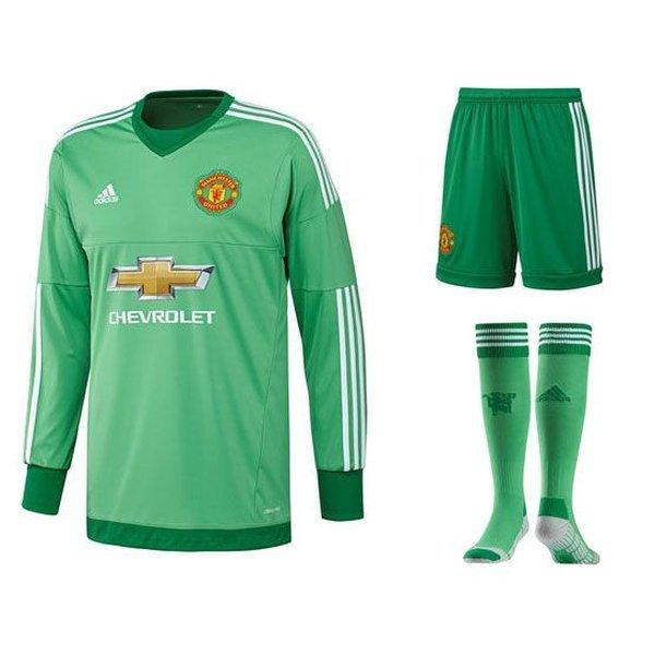 58f18ce9b Manchester United Goalkeeper Kit 2015 16 Green Kids