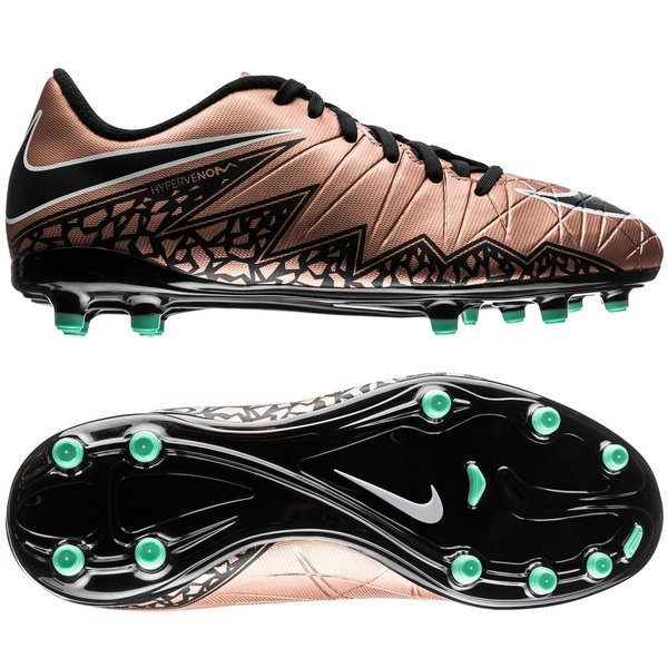Nike Hypervenom Phelon II FG Metallic Red Bronze/Black/Green Glow Kids.  Read more about the product. Compare models. - football boots. - football  boots
