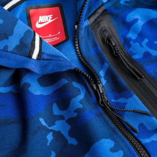 Nike Hoodie Tech Fleece Camo Blauw   unisportstore.nl