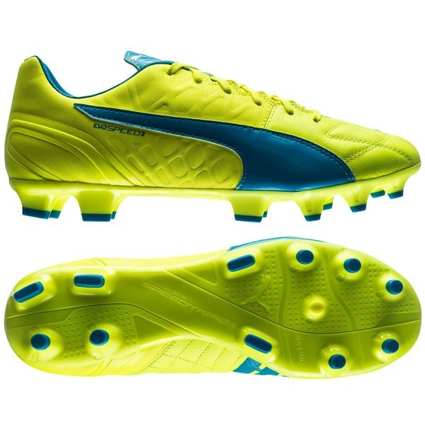 24894a212664f1 Puma evoSPEED 3.4 Leather FG Safety Yellow Atomic Blue White