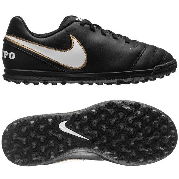 fe0b7d39b Nike Tiempo Rio III TF Black/White/Metallic Gold Kids |  www.unisportstore.com