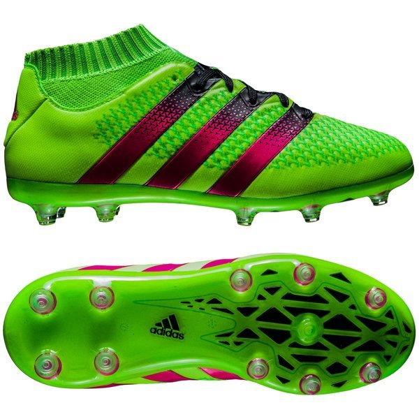 adidas ACE 16.1 Primeknit FG AG Solar Green Shock Pink Core Black Kids.  Read more about the product. - football boots. - football boots image shadow 766a90f1c