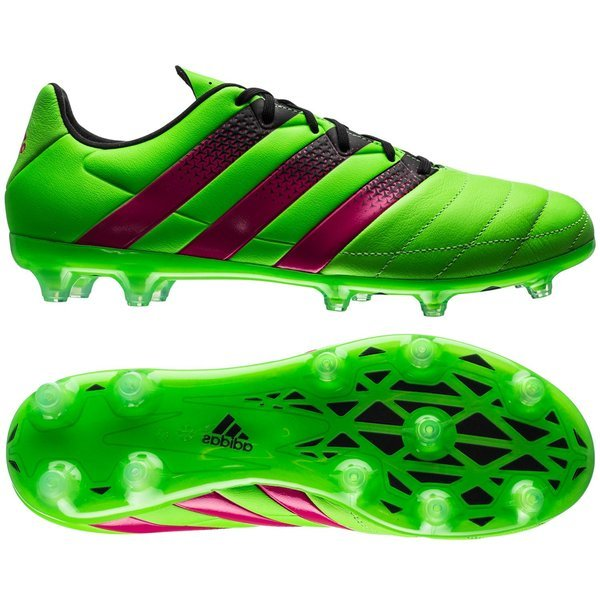 best sneakers a0f3f 09096 adidas ACE 16.2 Leather FG/AG Solar Green/Shock Pink/Core ...