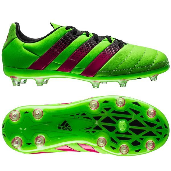 adidas Ace 16.1 Leather FGAG Solar GreenShock PinkCore Black Kids
