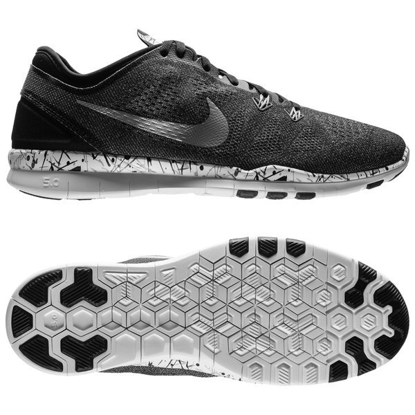 f2e77fa0fe3c Nike Free 5.0 TR FIT 5 Print Black Metallic Silver White Women