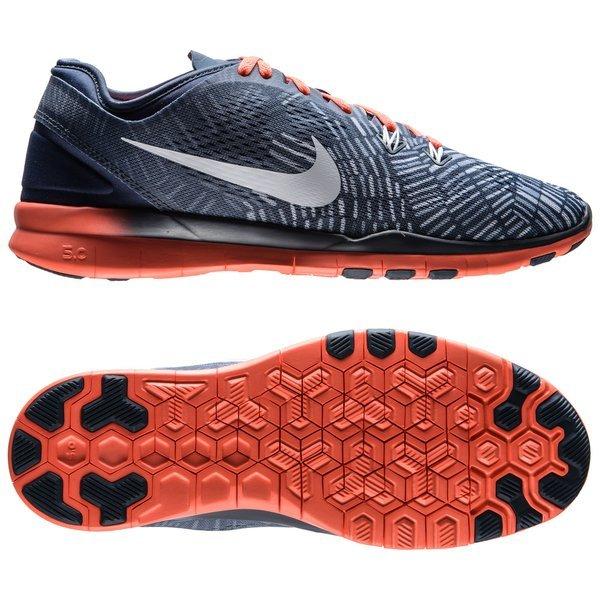 1ac43b954656 Nike Free 5.0 TR FIT 5 Print Blå Oransje Hvit Grå Dame 0