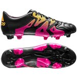 adidas X 15.1 Leather FG/AG Core Black/Shock Pink/Solar Gold