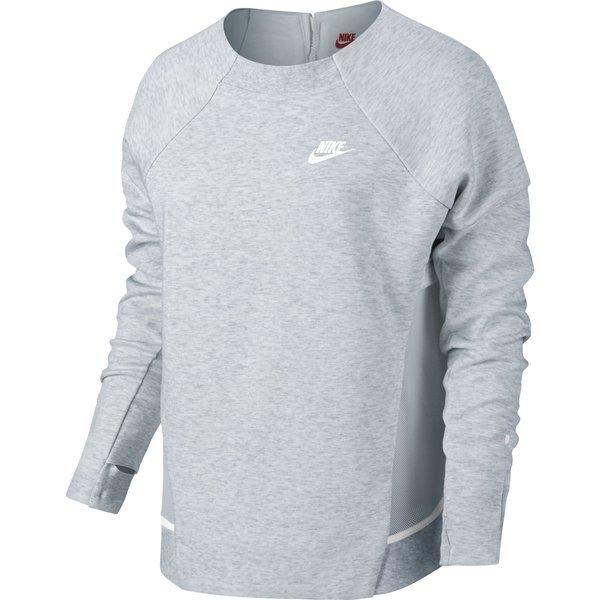 Nike Sweatshirt Tech Fleece Mesh Crew Grauweiß Damen