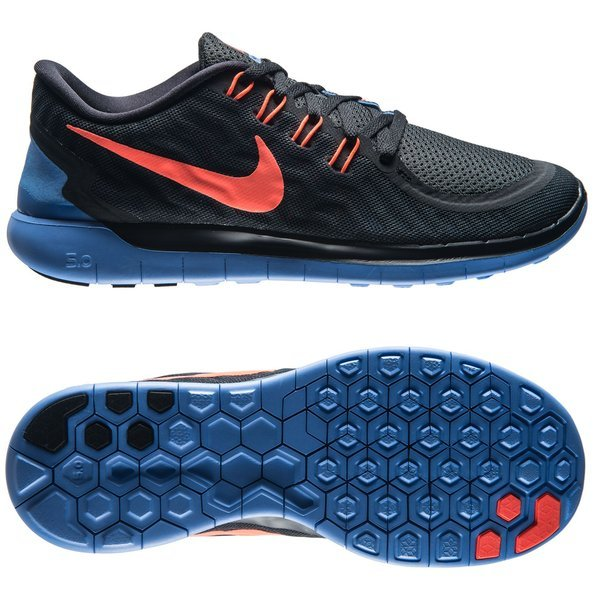 f8b81dd4648d Nike Free Running Shoe 5.0 Black Hyper Orange Chalk Blue Women
