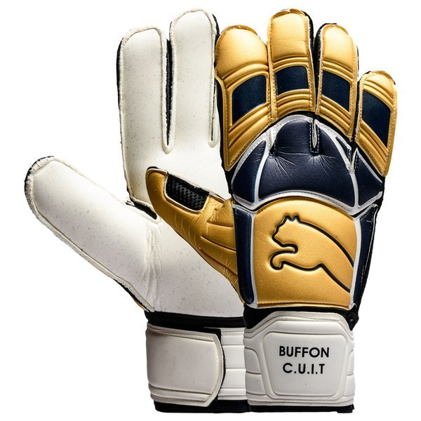 PUMA Goalkeeper Gloves Buffon v-Konstrukt Gold/Black Iris LIMITED EDITION.  Read more about the product. - goalkeeper equipment. - goalkeeper equipment