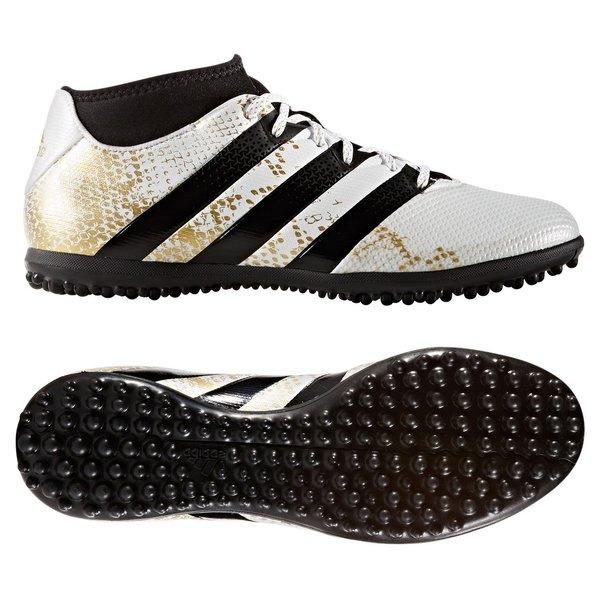 Adidas ACE 16.3 TF Fotballsko Svart Hvit Gull
