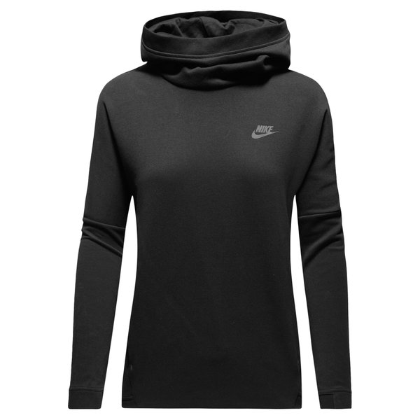nike hoodie tech fleece pullover schwarz damen. Black Bedroom Furniture Sets. Home Design Ideas
