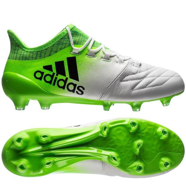 adidas x 16.1 fg/ag leather turbocharge - white/core black/solar green