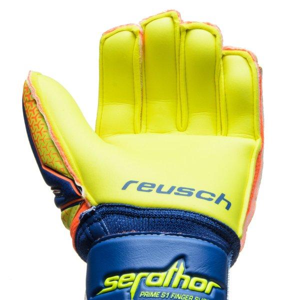d5d064ee0 Reusch Goalkeeper Gloves Serathor Prime S1 Finger Support - Dazzling  Blue Safety Yellow Kids
