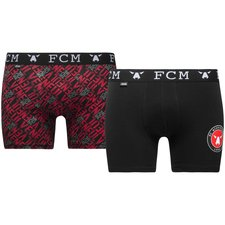 jbs trunks 2-pack f.c. midtjylland - black/red - underwear