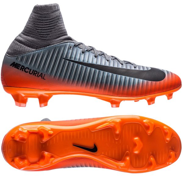 nike mercurial superfly v cr7 chapter 4 fg - cool grey orange kids -  football ... 53a203ef2fc6