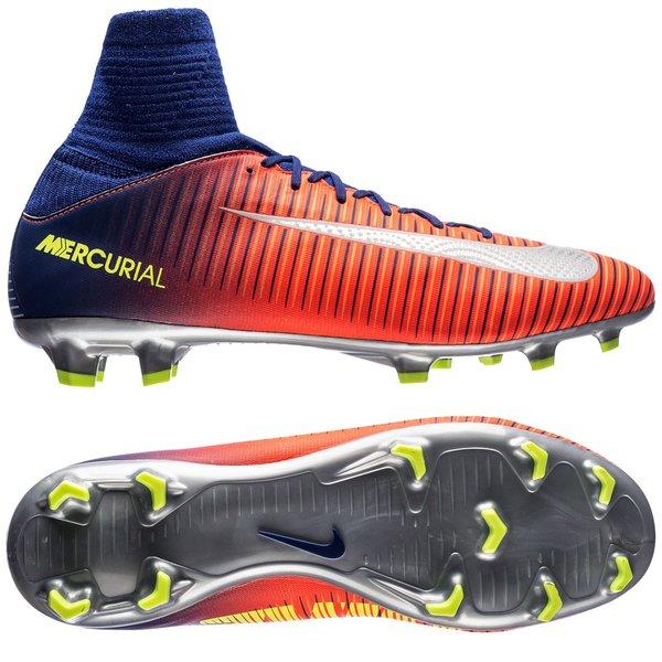 big sale 57217 043c0 Nike Mercurial Superfly V FG Time To Shine - Bleu Marine Chrome Orange  Enfant