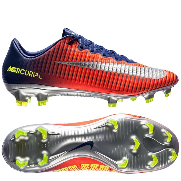 nike mercurial vapor xi fg time to shine - navy/chrome/orange - fodboldstøvler