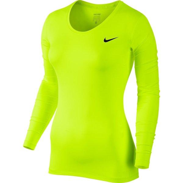 Nike Pro Cool Manches Longues Jaune FluoNoir Femme
