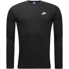 nike sweatshirt nsw crew fleece - sort/hvid - sweatshirts