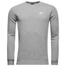nike sweatshirt nsw crew fleece - grå/hvid - sweatshirts