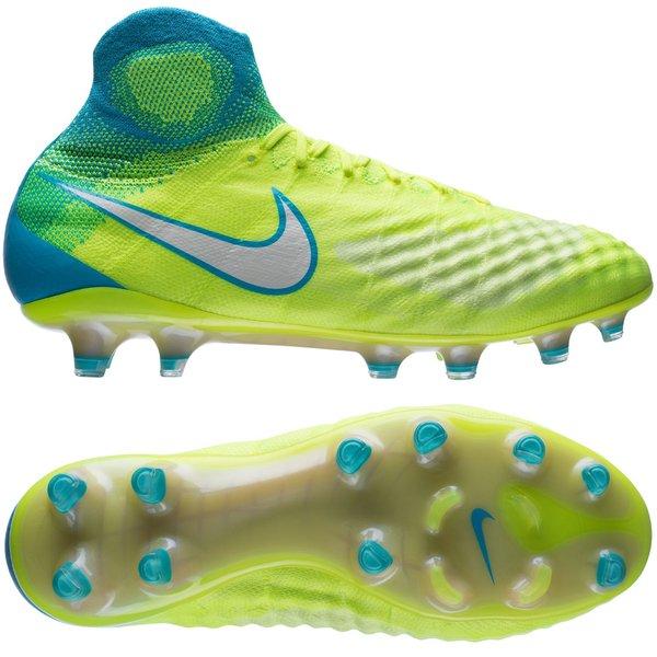 reputable site a1fbf 776c2 Nike Magista Obra II FG Motion Blur - Jaune Fluo/Blanc/Bleu Femme ...