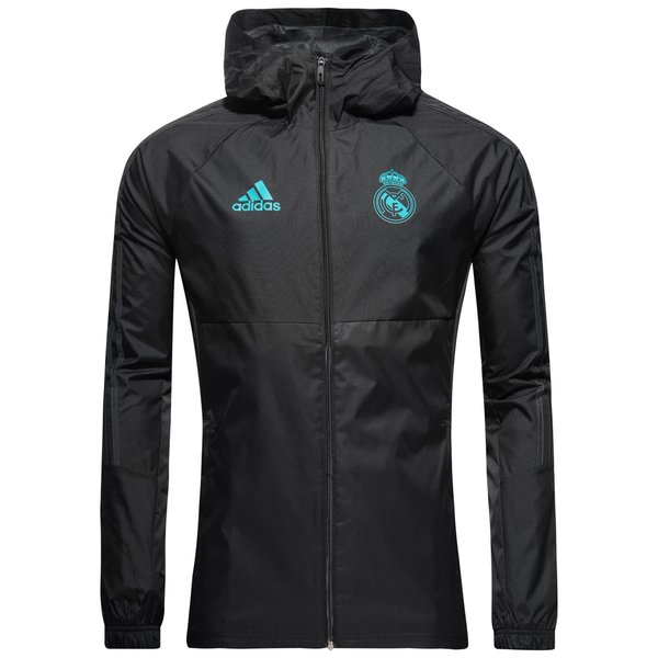 Real Madrid Rain Jacket Black Solid Grey Www