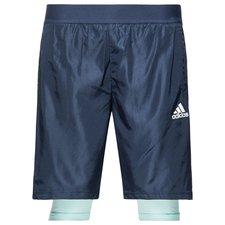 adidas træningsshorts 2i1 - navy/turkis/hvid børn - træningsshorts
