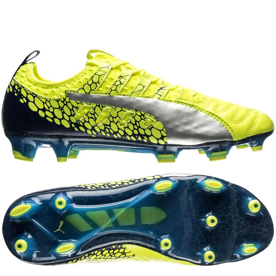 puma evopower vigor 1 k-leather graphic fg - yellow - football boots ... fe983bd07d36