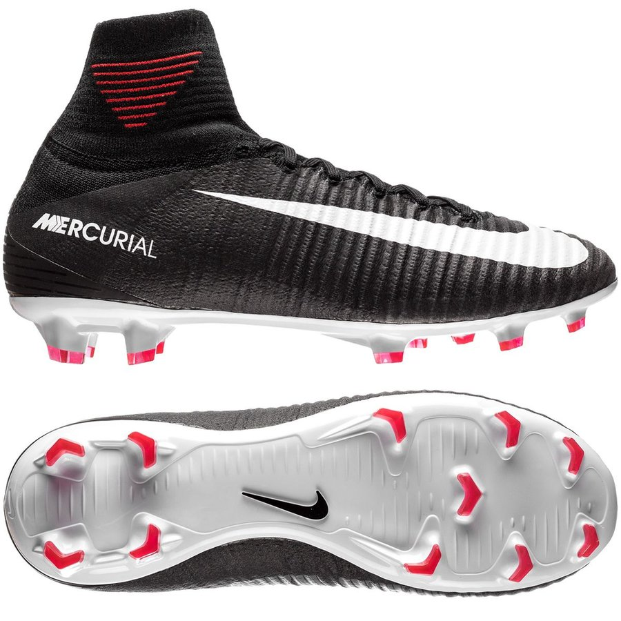 0de83e106 ... sweden nike mercurial superfly v fg pitch dark black white university  red kids 0b880 3c17b