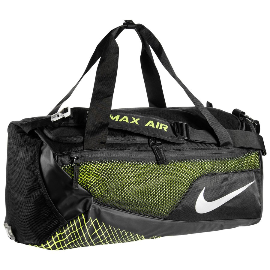 Nike Sports Bag Vapor Max Air Duffel M - Black Volt Metallic Silver ... 520aa1c680a94