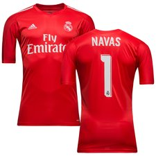 real madrid goalkeeper shirt 2017/18 red navas 1 kids - football shirts