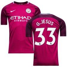 manchester city udebanetrøje 2017/18 g.jesus 33 børn - fodboldtrøjer