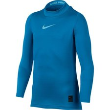 nike pro warm mock l/æ - blå/turkis børn - baselayer