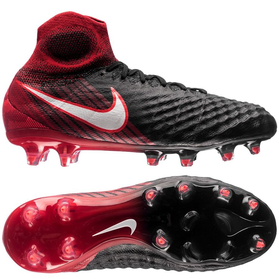 nike magista obra ii fg fire - black/white/university red kids - football