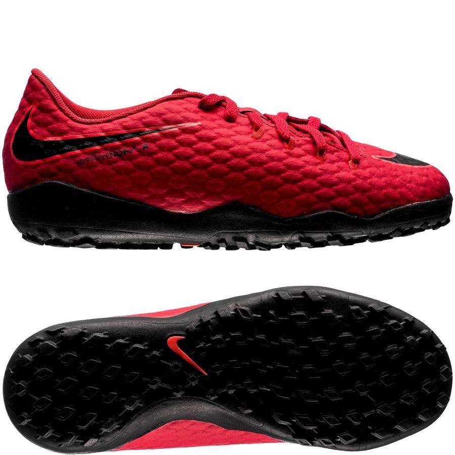 Nike HypervenomX Phelon 3 TF Fire - Rød/Sort Børn